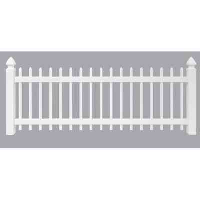 Outdoor Essentials 3 Ft. H. x 8 Ft. L. Spaced White Vinyl Picket Fence