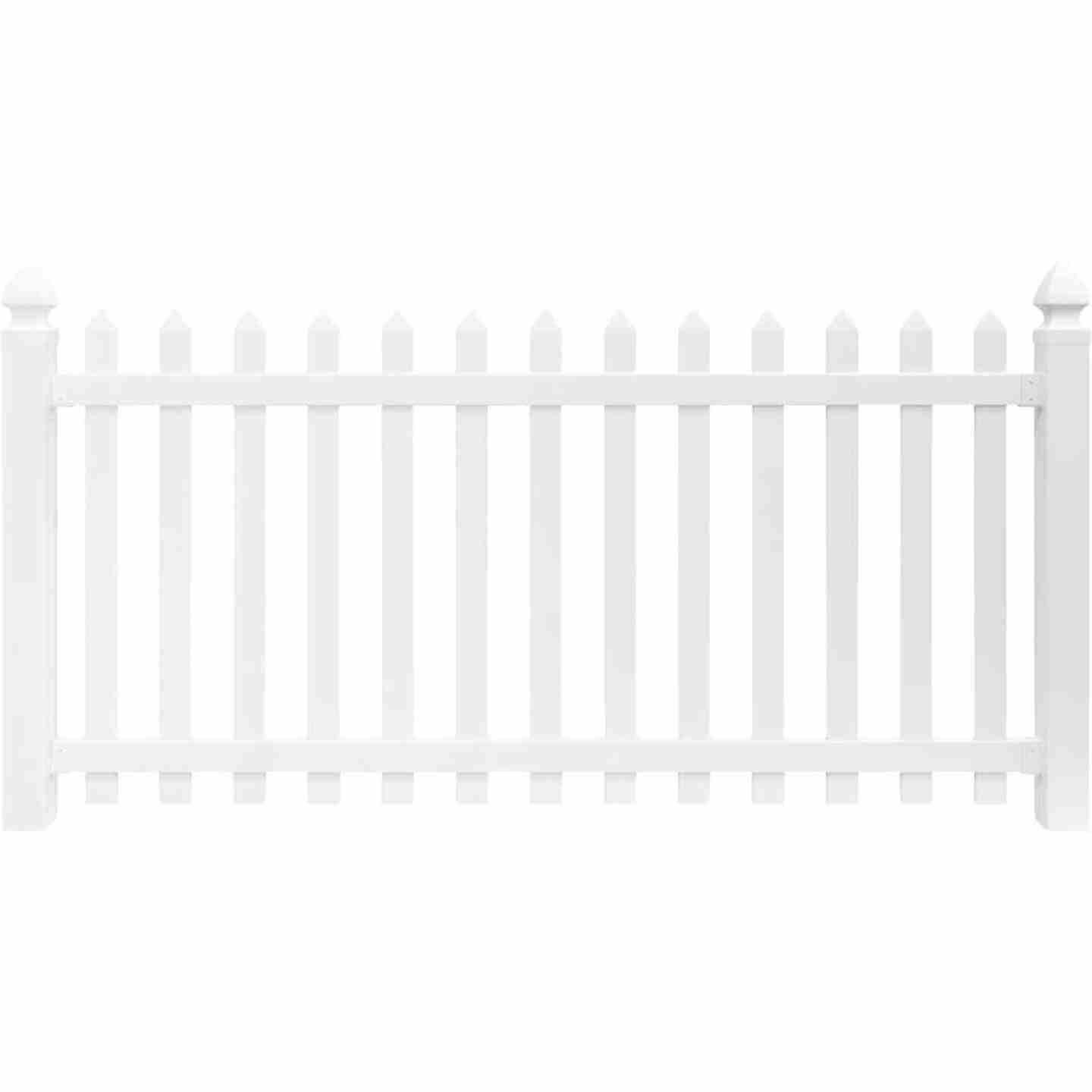 Outdoor Essentials 4 Ft. H. x 8 Ft. L. Spaced White Vinyl Picket Fence Image 4
