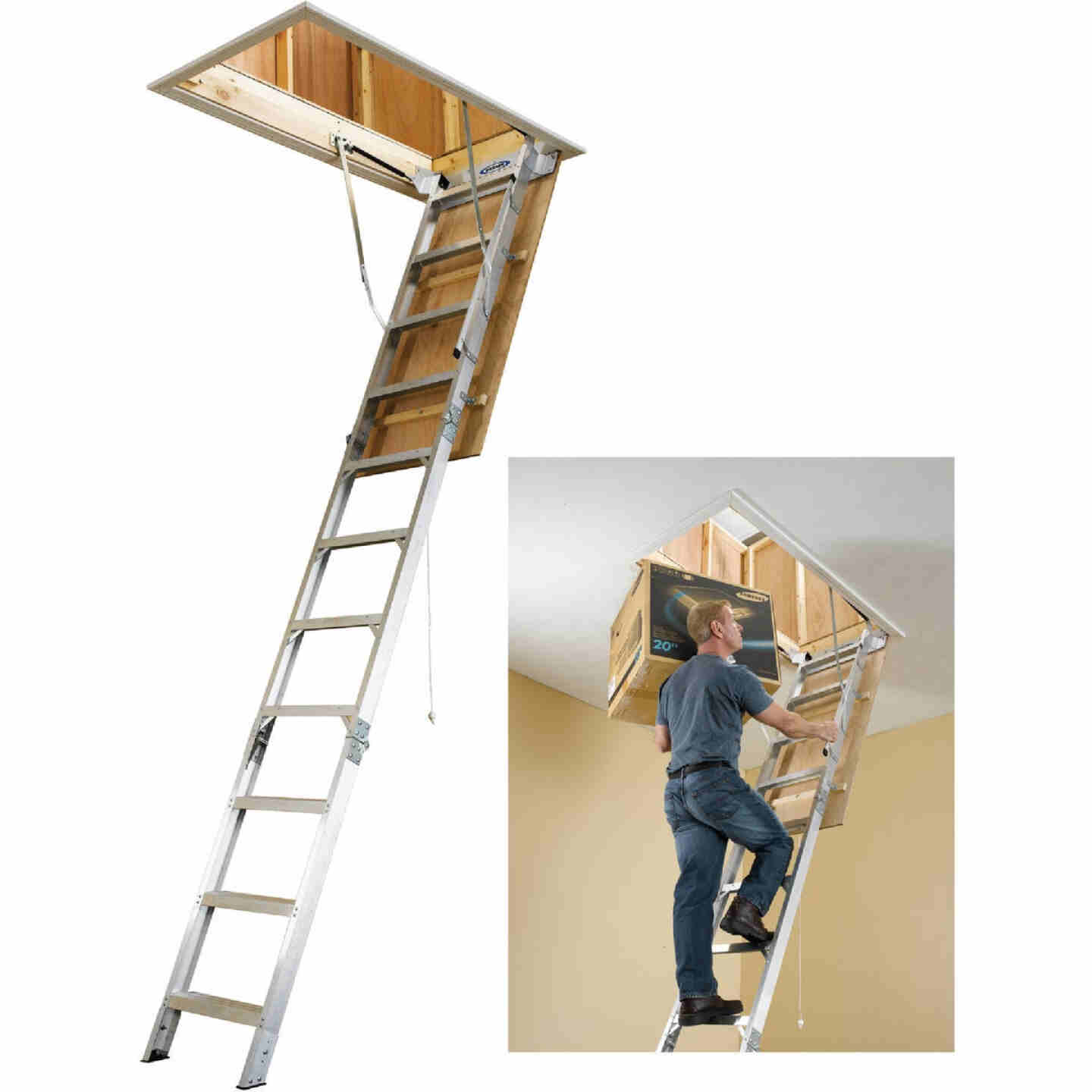 Werner Universal 8 Ft. to 10 Ft. 25 In. x 54 In. Aluminum Attic Stairs, 375 Lb. Load Image 1