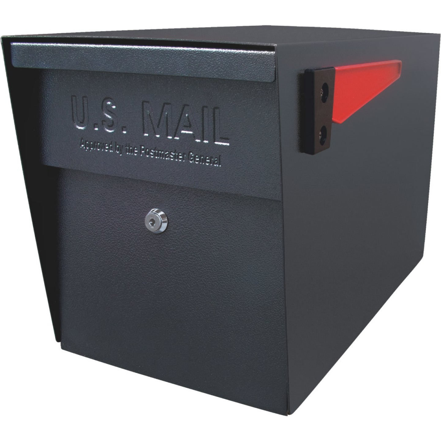 Mail Boss Black Steel Locking Security Post Mount Mailbox Image 1