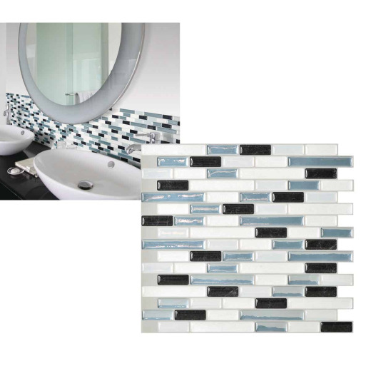 Smart Tiles Approx. 10 In. x 10 In. Glass-Like Vinyl Backsplash Peel & Stick, Muretto Brina Mosaic (6-Pack)