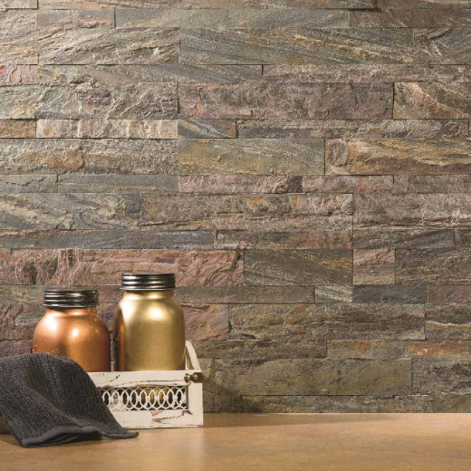 Aspect 6 In. x 24 In. Natural Stone Backsplash Peel & Stick, Weathered Quartz