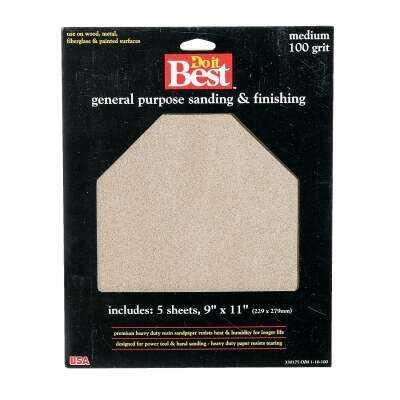 Do it Best General Purpose 9 In. x 11 In. 100 Grit Medium Sandpaper (5-Pack)