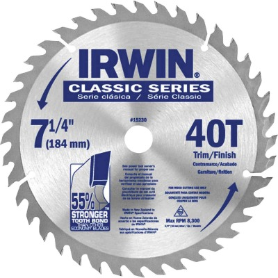 Irwin Classic Series 7-1/4 In. 40-Tooth Trim/Finish Circular Saw Blade, Bulk
