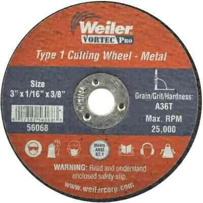 Weiler Vortec Type 1 3 In. x 1/16 In. x 3/8 In. Metal/Plastic Cut-Off Wheel