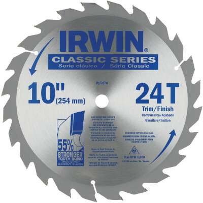 Irwin Classic Series 10 In. 24-Tooth Trim/Finish Circular Saw Blade