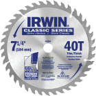 Irwin Classic Series 7-1/4 In. 40-Tooth Trim/Finish Circular Saw Blade Image 1