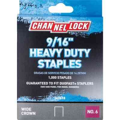 Channellock No. 6 Heavy-Duty Wide Crown Staple, 9/16 In. (1000-Pack)