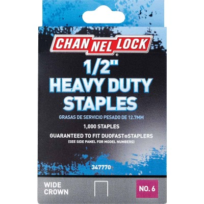 Channellock No. 6 Heavy-Duty Wide Crown Staple, 1/2 In. (1000-Pack)