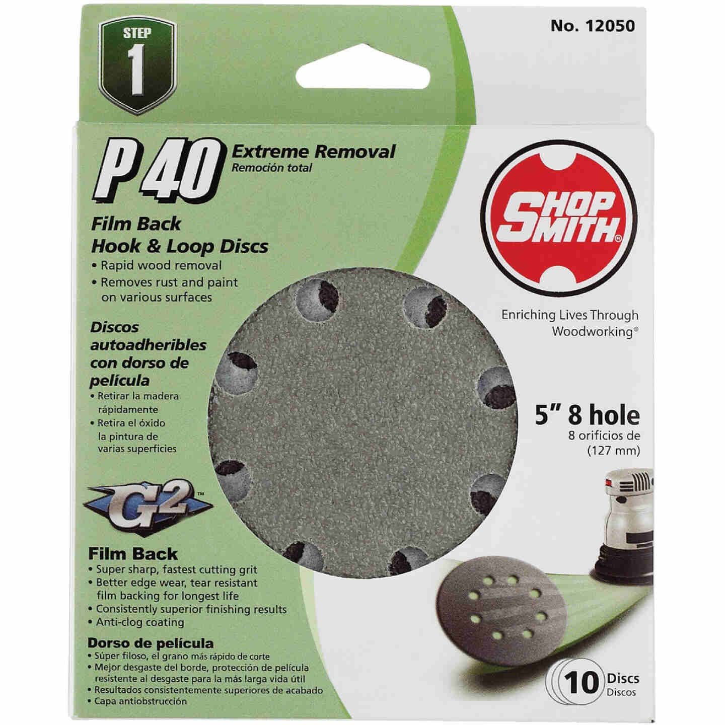 Shop Smith 5 In. 40-Grit 8-Hole Pattern Vented Sanding Disc with Hook & Loop Backing (10-Pack) Image 1