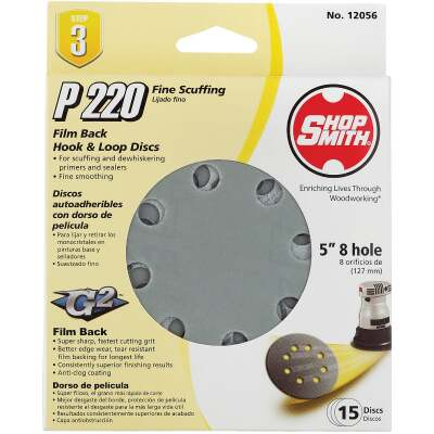 Shop Smith 5 In. 220-Grit 8-Hole Pattern Vented Sanding Disc with Hook & Loop Backing (15-Pack)