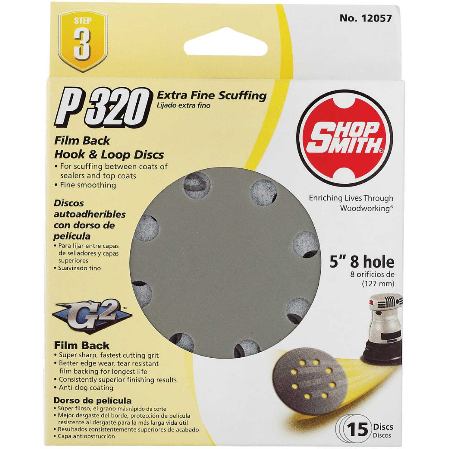 Shop Smith 5 In. 320-Grit 8-Hole Pattern Vented Sanding Disc with Hook & Loop Backing (15-Pack) Image 1