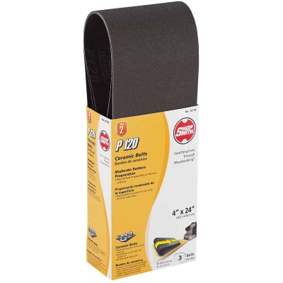 Gator Blade 4 In. x 24 In. 120 Grit Heavy-Duty Sanding Belt (3-Pack)
