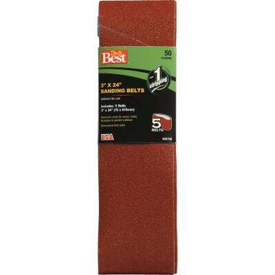 Do it Best 3 In. x 24 In. 50 Grit Dual Direction Sanding Belt (5-Pack)