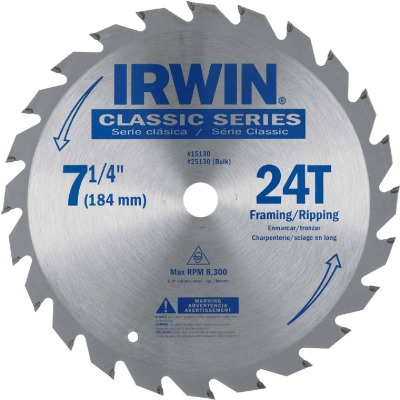 Irwin Classic Series 7-1/4 In. 24-Tooth Framing/Ripping Circular Saw Blade, Bulk
