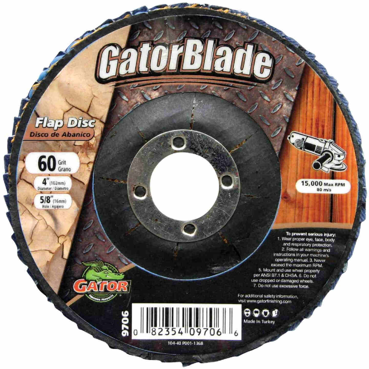 Gator Blade 4 In. x 5/8 In. 60-Grit Type 29 Angle Grinder Flap Disc Image 1