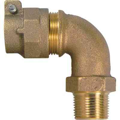 A Y McDonald 3/4 In. 90 Deg. Brass Elbow, MIP Polyethylene Pipe Connector (1/4 Bend)