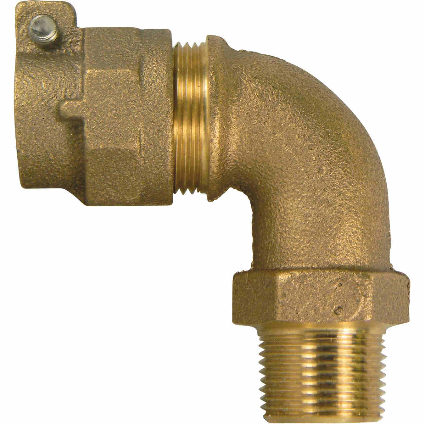 A Y McDonald 1 In. 90 Deg. Brass Elbow, MIP Polyethylene Pipe Connector (1/4 Bend) Image 1