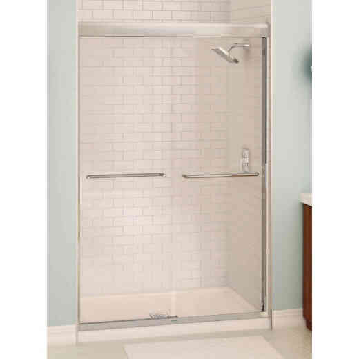 Maax Aura 48 In. W. X 71 In. H. Chrome Frameless Clear Glass Sliding Shower Door