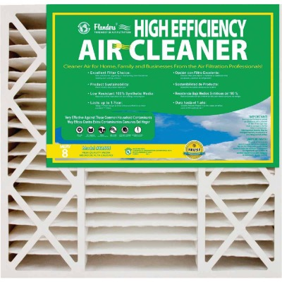 Flanders 20 In. x 20 In. x 4-1/2 In. Deep Pleat High Efficiency MERV 8 Furnace Filter