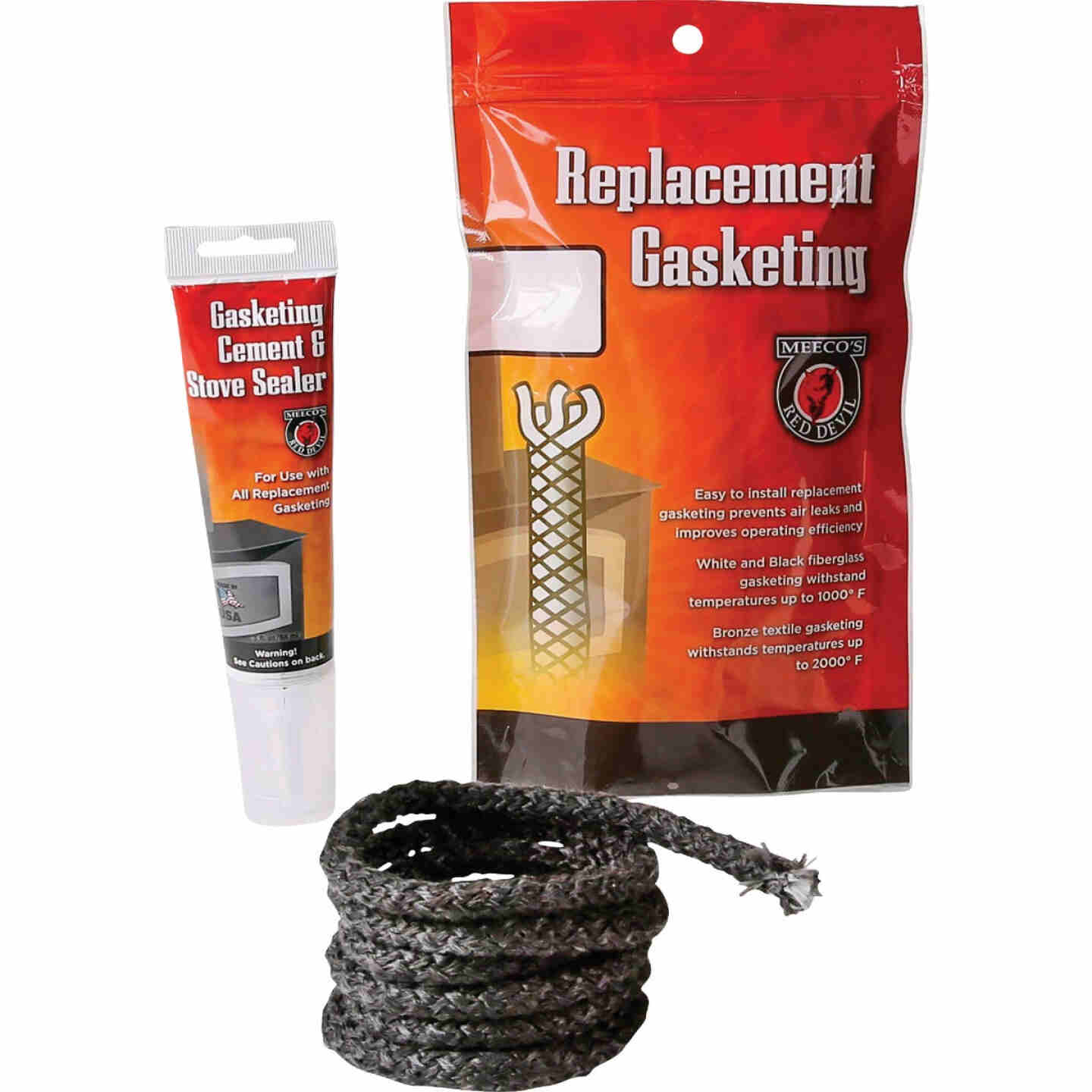 Meeco's Red Devil Gasketing Cement/Stove Sealer and 5/8 In. x 6 Ft. Replacement Rope Gasket Kit Image 1