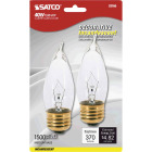 Satco 40W Clear Medium CA10 Incandescent Turn Tip Decorative Light Bulb (2-Pack) Image 1