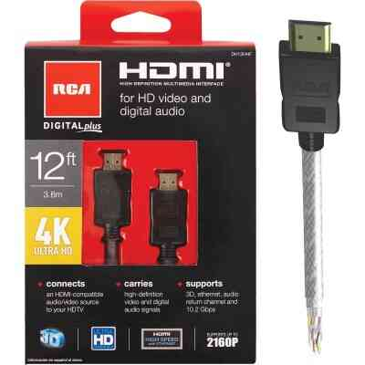 RCA 12 Ft. White 1080P Digital Plus HDMI Cable