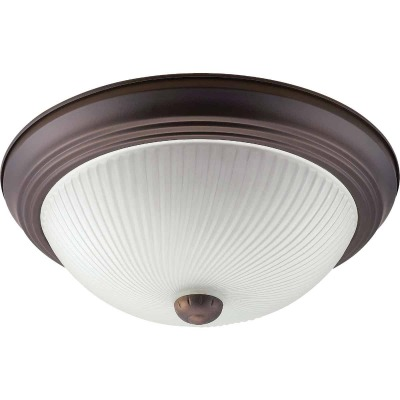 Home Impressions 13 In. Oil Rubbed Bronze Incandescent Flush Mount Ceiling Light Fixture with Frosted Swirl Glass