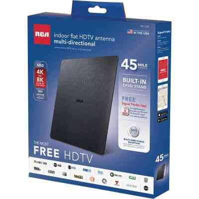 RCA Gold Series Black 8.53 In. Amplified Flat Indoor Antenna