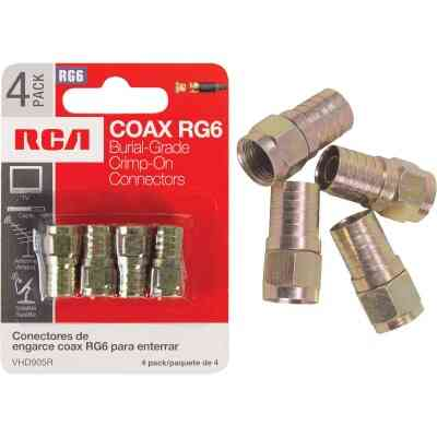 RCA RG6 F-Connector (4-Pack)