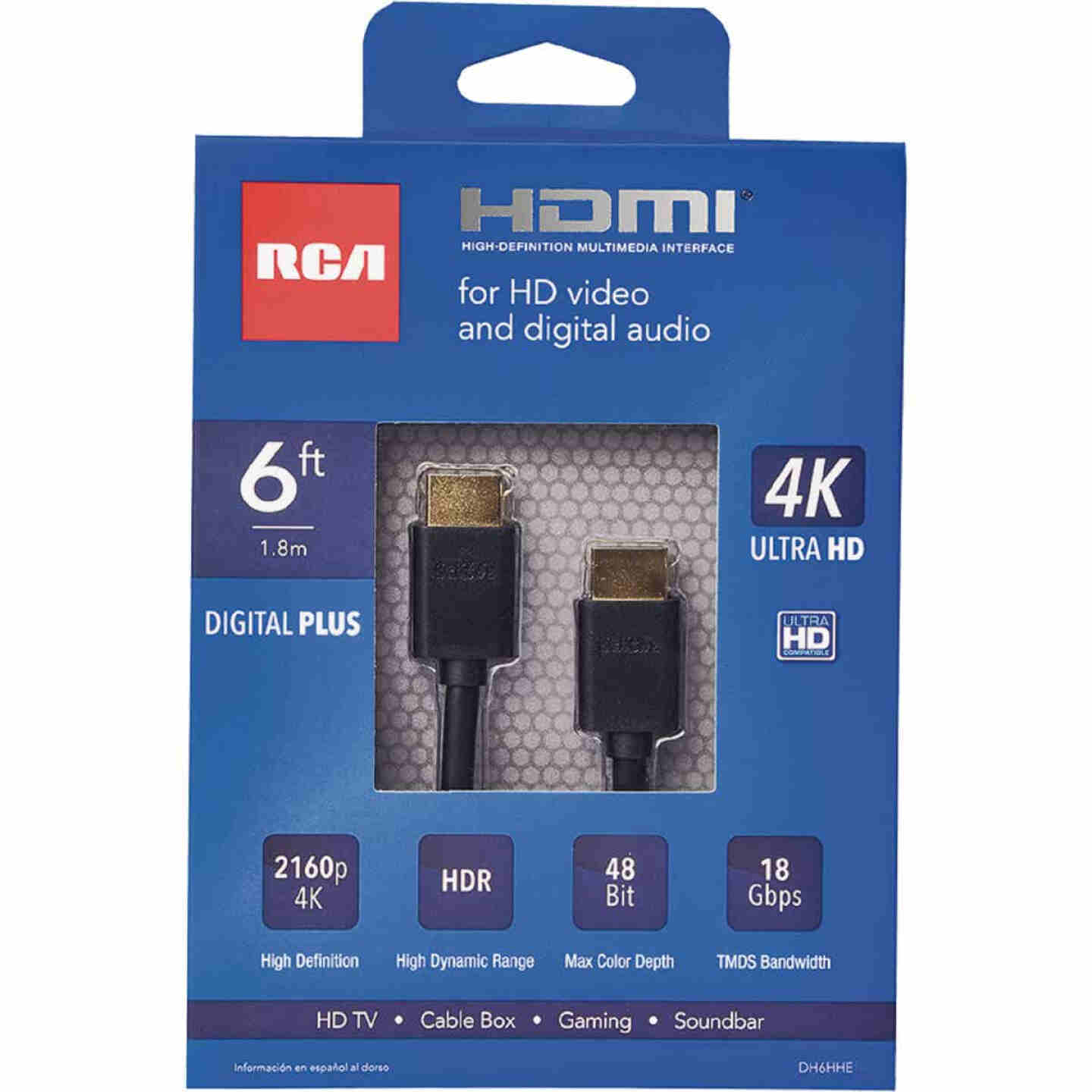 RCA 6 Ft. White 1080P Digital Plus HDMI Cable Image 1