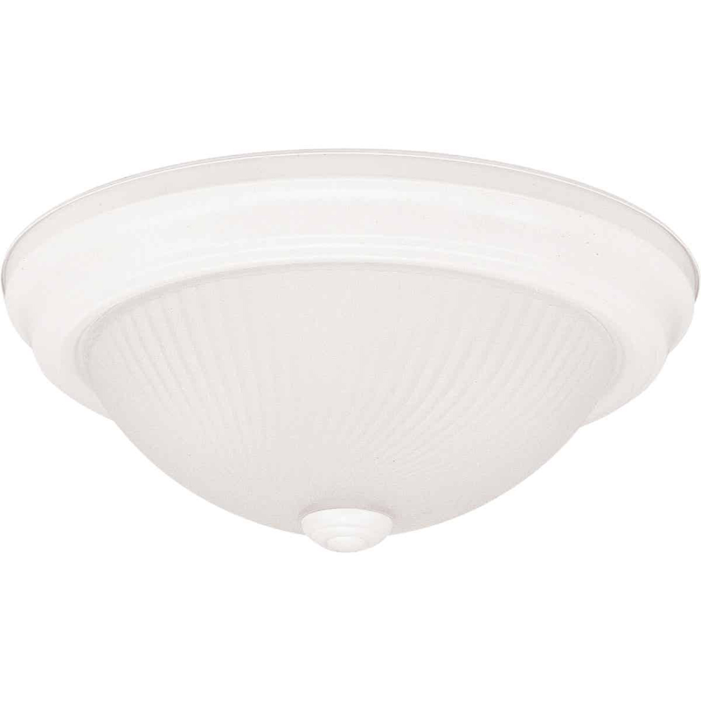Home Impressions 13 In. White Incandescent Flush Mount Ceiling Light Fixture with Frosted Swirl Glass Image 1