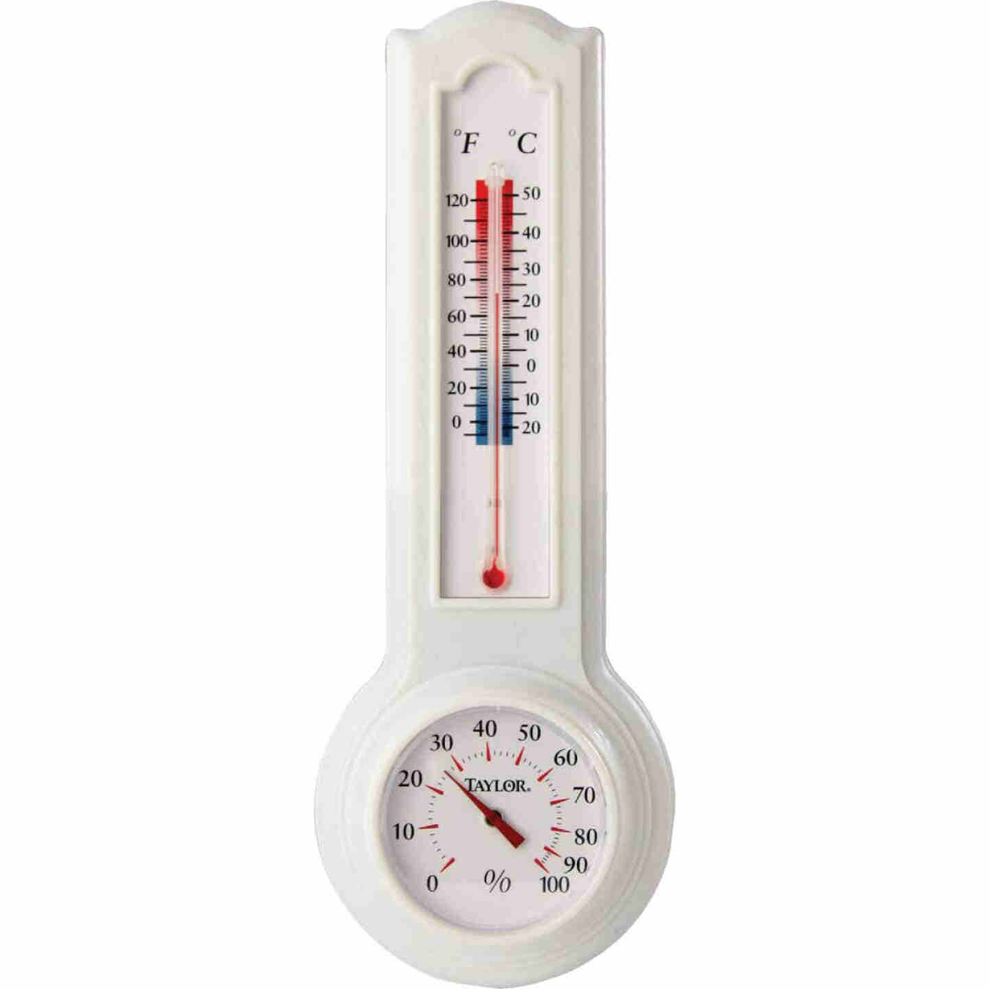 Taylor Fahrenheit & Celsius Analog 0 to 120 F, -20 to 50 C Hygrometer & Thermometer Image 1