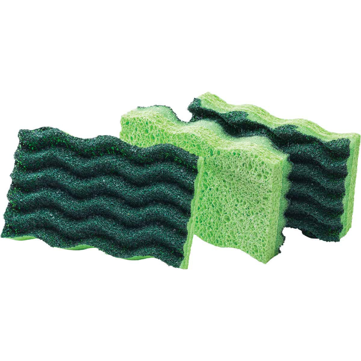 Libman 4.5 In. x 3 In. Yellow & Green Heavy Duty Scrub Heavy Duty Sponge (3-Count) Image 1