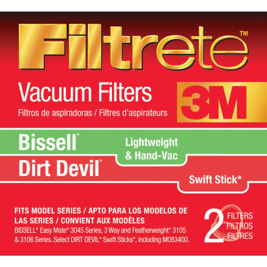 3M Filtrete Standard Bissell Easy Mate/Dirt Devil Swift Stick Vacuum Filter (2-Pack)