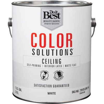 Do it Best Color Solutions Latex Self-Priming Flat Ceiling Paint, White, 1 Gal.