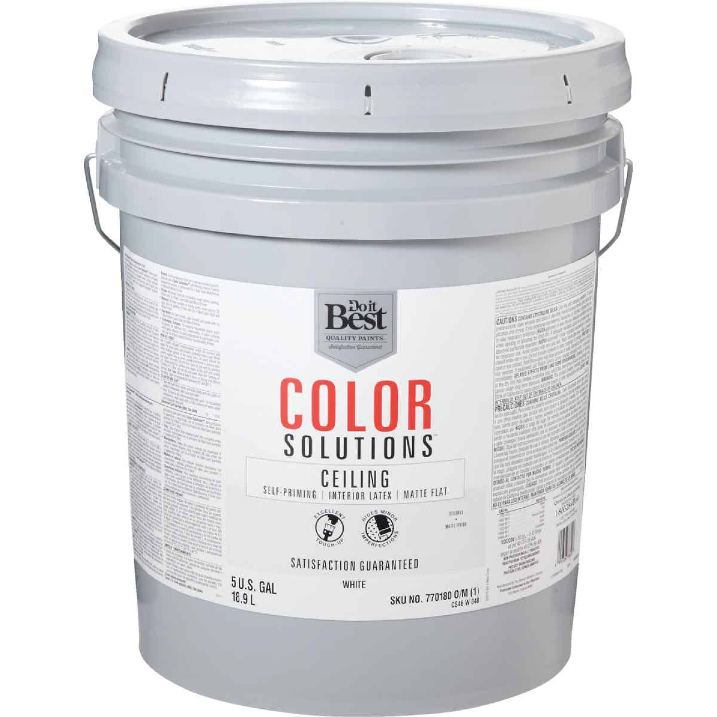 Do it Best Color Solutions Latex Self-Priming Flat Ceiling Paint, White, 5 Gal. Image 1