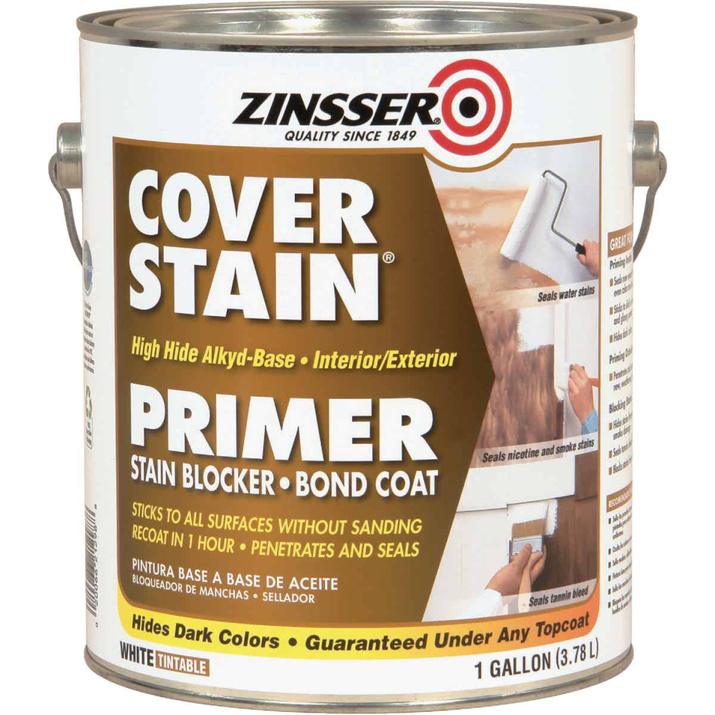 Zinsser Cover-Stain Low VOC High Hide Alkyd-Base Interior/Exterior Stain Blocker Primer, White, 1 Gal. Image 1