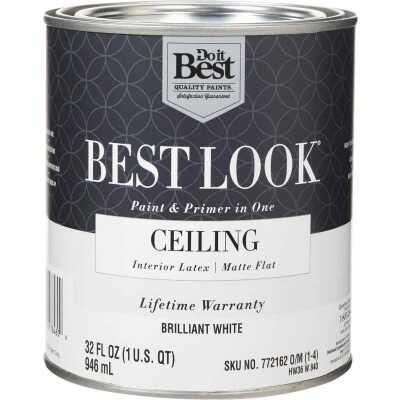 Best Look Latex Paint & Primer In One Matte Flat Ceiling Paint, Brilliant White, 1 Qt.