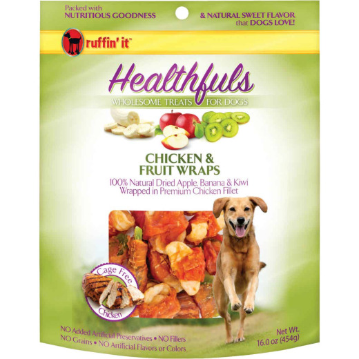 Ruffin' it Healthfuls Chicken & Fruit Flavor Chewy Dog Treat, 1 Lb.
