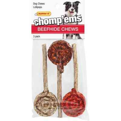 Westminster Pet Ruffin' it Chomp'ems Beefhide Lollipop Chew, (3-Pack)